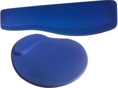 Kit Mouse Pad Ergonômico + Apoio Teclado Tecido Preto Sem Impressão