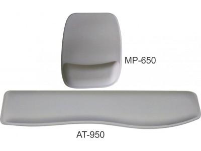 Kit Mouse Pad Ergonômico + Apoio Teclado Tecido Branco Sem Impressão