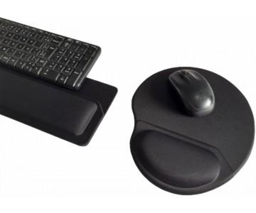 Apoio de Teclado Ergonômico Tecido Preto Sem Impressão - Espuma 16mm  - 3