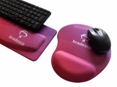 R$50,00 - Kit Apoio de Teclado Ergonômico Tecido Sublimático Personalizado + Mouse...