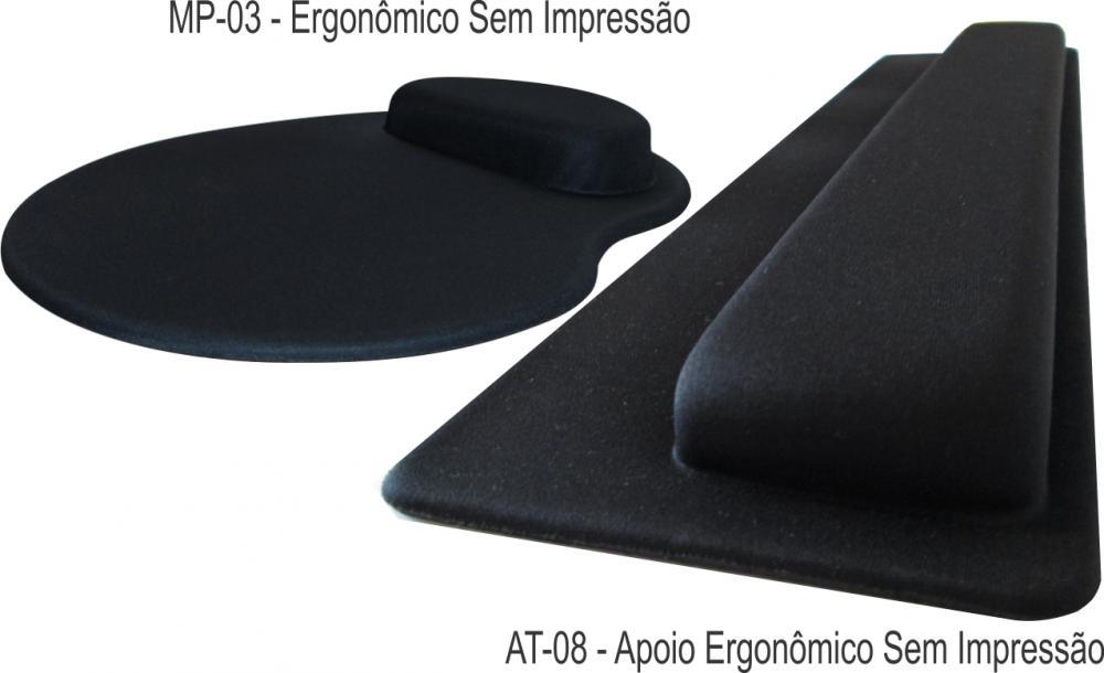 Kit Mousepad Mouse Pad com Apoio Ergonômico + Apoio para Punho Teclado sem Impressão com Tecido